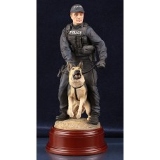 Police Dog Team - Painted Statue